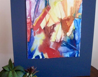 """Abstract Watercolor Painting original art 16""""x 20"""" mounted on mat board blue red yellow abstract Carlie DeGaetano"""