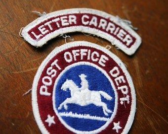 Vintage 1970's Embroidered Patch USPS Post Office Horse Rider Retro / Mailman Patch / Mail Carrier Postman Patch
