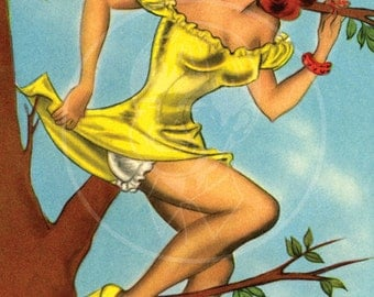 How'd I Get into this Tight Place - 10x16 Giclée Canvas Print of Vintage Pinup Postcard