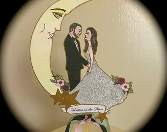 Portrait Wedding Cake Topper - Custom Illustrated - Art Deco - Hand Painted