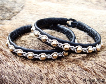 Shieldmaidens Black Leather and 14K Gold Bracelet GJALL Sami style Viking Bracelet Custom Handmade Nordic Elegance