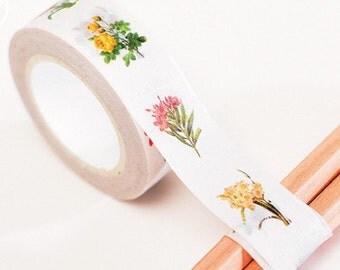 Japanese Washi Masking Tape - Single Flora - 11 Yards