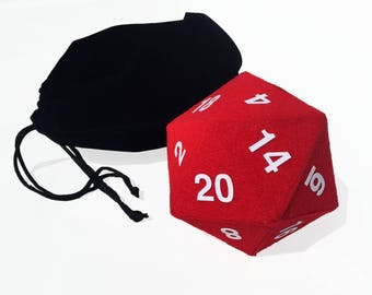 Giant Red Hard Shell D20 Fuzzy Die - Dungeons and Dragons - RPG - Pathfinder - Icosahedron - Die Bag - Gaming Dice - DnD