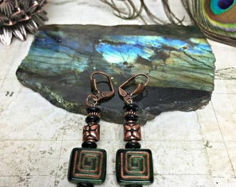Geometric Earrings - Geometric Jewelry, Womens Gifts, Boho Chic, Geometric Shapes, Green Earrings, Greek Key, Square Earrings