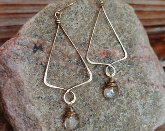 Routine. Hand Forged Artisan Boho Brass Simple Chandelier Earrings with Wire Wrapped Tear Drop Rock Crystal Faceted Gems-Simple Vintage Boho