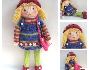 Betsy Button - toy doll knitting pattern - PDF INSTANT DOWNLOAD