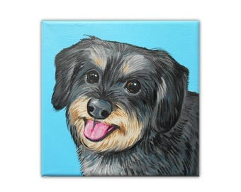 "6x6x1.5"" Gallery Style Canvas Custom Dog Portrait, Custom Pet Painting, 1 Pet Close-Up Solid background Gift Memorial Dogs Puppies"