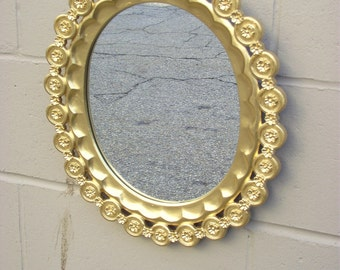 Gold Mirror Shabby Chic Flowers Medallions Ornate Framed Oval Wall Mirror - Romantic Cottage Decor - Vintage Burwood  - Roses Rosettes