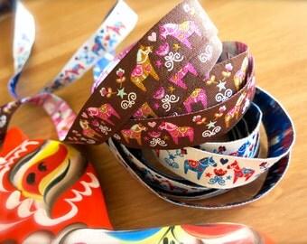 Cute Dala Horse Embroidered Ribbon-1 Foot-Chocolate Brown, Pink, Blue, White Trim-Swedish Dalahasten-Scandinavian Woven Ribbon-Folk Horse