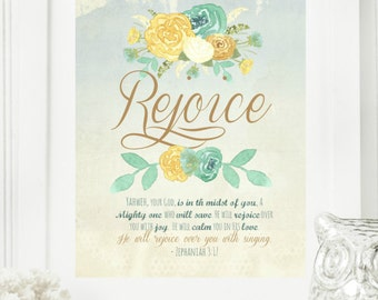 "Instant 8x10 ""Rejoice - Zephaniah 3:17"" Floral Digital Wall Art Print 