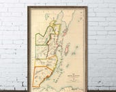 Belize map  - Giclee fine  reproduction , map of Belize