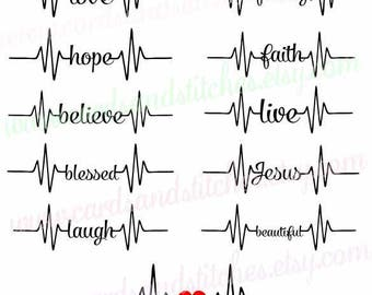 Heartbeat Words SVG - Heartbeat SVG - Digital Cutting File - Graphic Design - Cricut Cut - Instant Download - Svg, Dxf, Jpg, Eps, Png