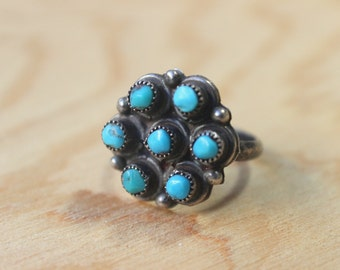 Turquoise Cluster RING / Sterling Southwest Jewelry / Vintage Size 5 1/4 Ring