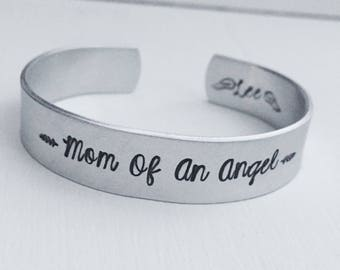 Mom Of An Angel Personalized Memorial Cuff Miscarriage Child Loss Angel Wings Adjustable Silver Cuff Bracelet