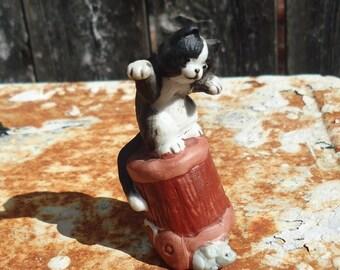 Vintage Enesco Porcelain Tuxedo Cat on Bucket & Mouse Figurine