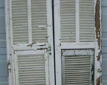 shutters,mediterranean Shutter window,Antique Wooden Architectural,rustic old shutters,salvage,Wall Decor Piece,chippy green and white paint