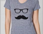 Women's T Shirt Mustache Wayfarer Tee American Apparel S, M, L, XL  8 Colors gift for her