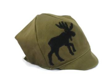 KIDS Reversible Moose Hat - Outdoorsman Cap - Camping Summer Hat -  Baby, Toddler or Kids XXS XS S L