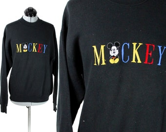 Vintage Black Mickey Mouse Disney Sweatshirt Small
