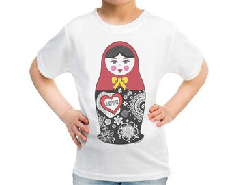 Matryoshka doll Kids T-shirt-Matryoshka doll girls t-shirt-Matryoshka doll-boy t-shirt-girl clothing-children clothing-NATURA PICTA-TSK002