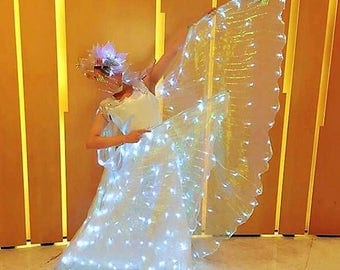LED Light Up Pleated Iridescent Hologram Sheer Transparent Angel Fairy Butterfly Wings Festival Dance Carnival Costume Burning Man UK Seller