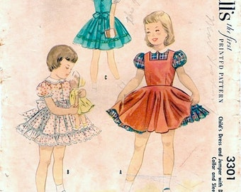 Cute Vintage 1950s McCall's 3301 Toddler Girls Dress and Jumper with Trim Options Sewing Pattern Sz 2
