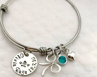 Baby Name Bracelet - Mother's Day Gift idea - Baby shower gift - Personalized Mommy Bracelet - The Charmed Wife - New Mom Gift - Handstamped