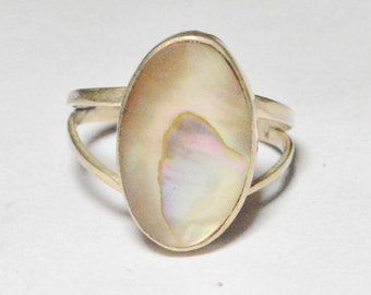 SALE Vintage Sterling Silver Abalone Taxco Mexico Marked Band Size 6