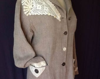 Vintage Laura Ashley linen jacket refashioned upcycled wearable art vintage lace antique MOP buttons size M-L Irish linen jacket