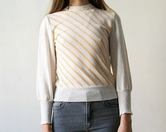 "Vintage 70s ""Sure Jan"" diagonal striped white and orange jumper size XS/S"