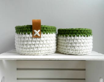 2 Crocheted Nested Baskets