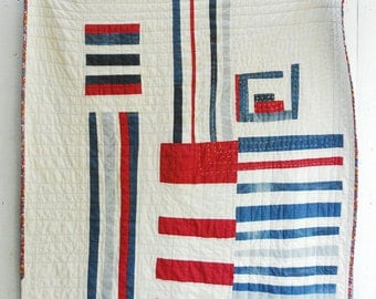 Heirloom Quilt, Organic Cotton Quilt, Fiber Art Quilt, Vintage Blue Jean and Red Linen Quilt, Throw Quilt, Improv Quilt