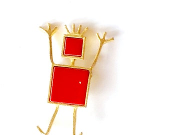 Art Deco Red & Gold Happy Man Figural Brooch Collectible Fun Retro Fashion Jewelry