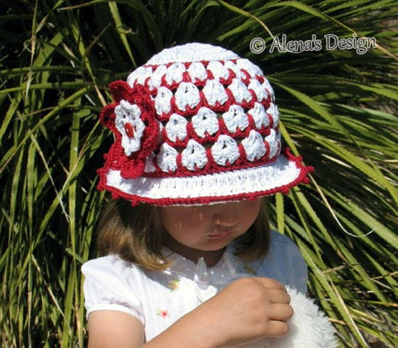 Crochet Pattern 013 - Crochet Hat Pattern Sun Hat and Flower Clip Summer Hat Crochet Patterns Brimmed Hat Baby Toddler Child Ladies Easter