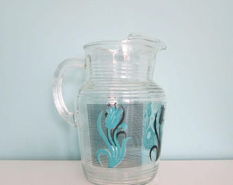 Mid Century Turquoise Water Pitcher, Vintage Tulip Pitcher, Black & Teal Pitcher, Teal Pitcher, Retro Turquoise Pitcher, Juice Pitcher, Blue
