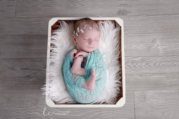 Aqua stretch lace swaddle wrap AND/OR silver leaf halo headband for newborn photo shoots, stretch lace, Lil Miss Sweet Pea