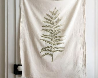 Fern Print Cotton Towel. Rustic Home. Yoga Towel. Natural Kitchen Towel. Flour Sack. Eco Friendly Cotton Towel. Natural Home. Fern Painting.