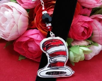 Striped Top Hat Velvet Ribbon Bookmark