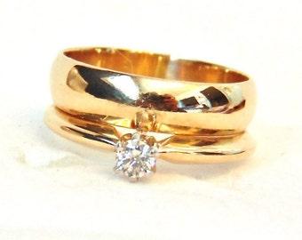Vintage 14K Diamond Solitaire Engagement Ring Wedding Band Set, Bridal Set