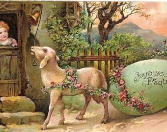 RARE Big Easter Egg & Lamb Antique French Postcard from Vintage Paper Attic, Chromolithograph Chromo