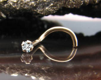 14K, 18K, 24K, Solid Yellow Gold Nose Ring Screw Nostril 1.5mm, 2mm, 2.5mm, 3mm Genuine Diamond. Choose Your Gauge. 22G, 20G, 18G