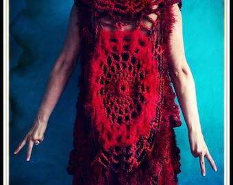 Crochet Festival Vest, Knit Sweater Vest,Crochet Mandala,Chunky Knit,Festival Clothing,Womens Vest,Boho,Gypsy,Hippie,Red,One Size