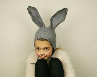 Rabbit Ear felt Hat for Kids - Handmade felted wool bunny girl boy hat -  Costume party fancy ball hat  - Kids carnival hat - Ready to ship