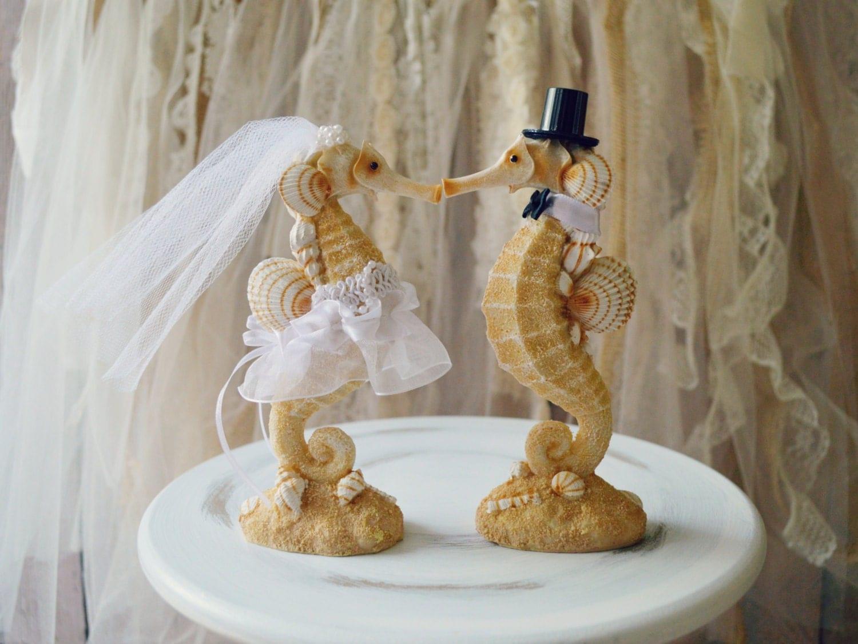 Seahorse Wedding Cake Topper Beach wedding Kissing Seahorse