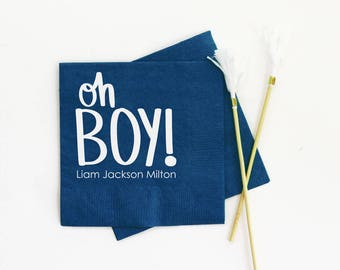 Oh Boy Baby Shower Napkins Personalized Napkins Baby Shower Ideas Baby Shower Decorations Custom Beverage Napkins Baby Boy Party Supplies