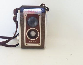 Vintage Photographic Equipment 1950's Kodak Duaflex Midcentury Camera Adjustable Shutter Speed 1950 Kodak Takes 620 Film Original Neck Strap