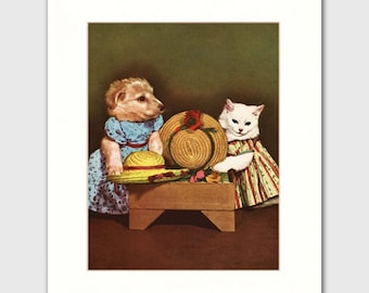 "Dog and Cat Art w/Mat (Animal Lover Gift, 1950s Print, Retro Home Wall Decor) ""Dress Up"" --- Vintage Matted Storybook Page"