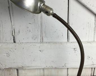 Industrial Desk Lamp Cast Iron Base Art Deco Gooseneck Lamp