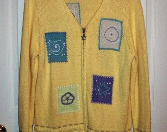 Vintage Ladies Yellow Hand Embroidered Cardigan Sweater by Christopher & Banks XL Only 6 USD