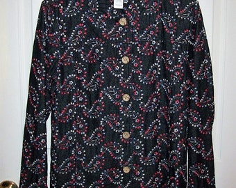 Vintage Ladies Embroidered Denim Blouse by Coldwater Creek Medium Only 8 USD